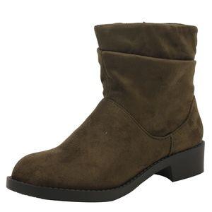 Girls Khaki Slouchy Mid Calf Riding Low Heel Boot